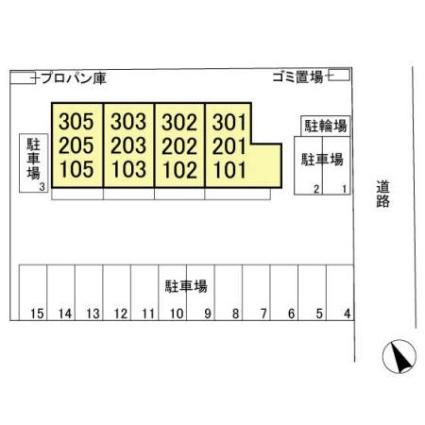 栃木県足利市福富町[1LDK/40.36m2]の配置図
