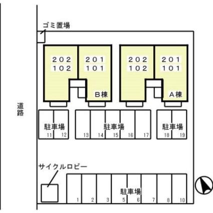 栃木県足利市八幡町2丁目[1LDK/45.42m2]の配置図