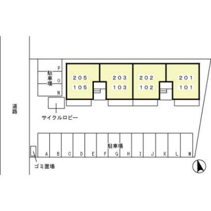 栃木県足利市山川町[2DK/45.45m2]の配置図