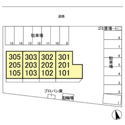 栃木県足利市福居町[1LDK/33.39m2]の配置図