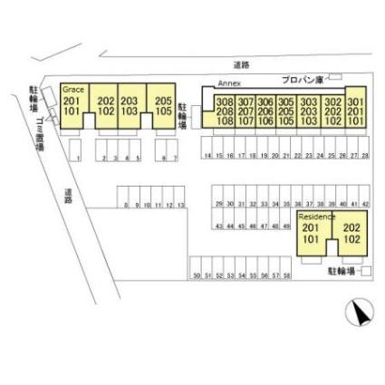栃木県足利市福居町[1LDK/43.71m2]の配置図