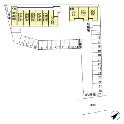 カスタリアⅡ A[1R/29.81m2]の配置図