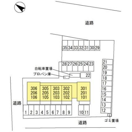 栃木県足利市鹿島町[1LDK/40.07m2]の配置図