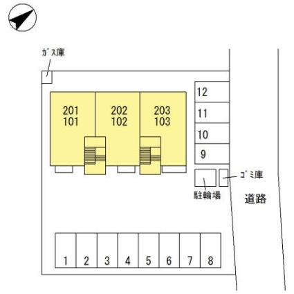 栃木県足利市山川町[1LDK/40.46m2]の配置図