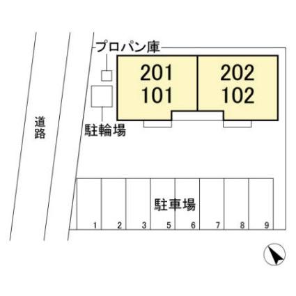 栃木県足利市緑町1丁目[1LDK/45.38m2]の配置図