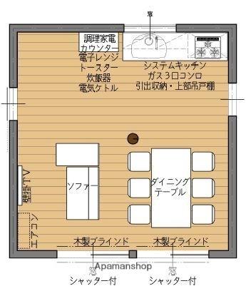 シェアードハウス六花[1R/6m2]の配置図