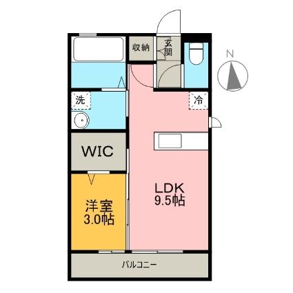 栃木県足利市五十部町[1LDK/33.39m2]の間取図