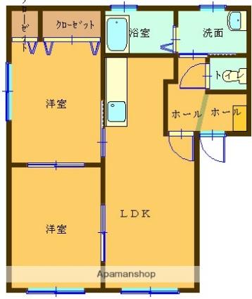 ラフォーレ福居10[2LDK/50.04m2]の間取図