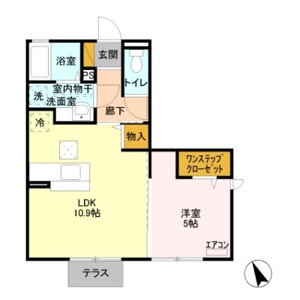 栃木県足利市福富町[1LDK/40.36m2]の間取図