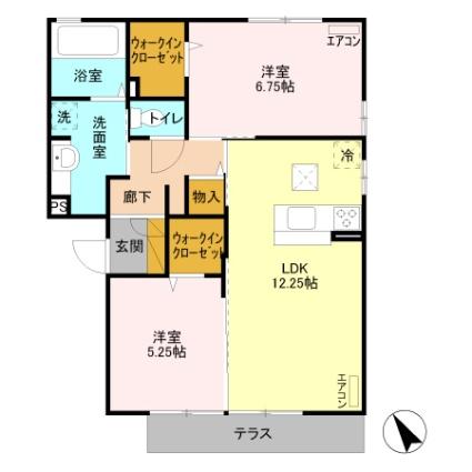 栃木県足利市山川町[2LDK/60.88m2]の間取図