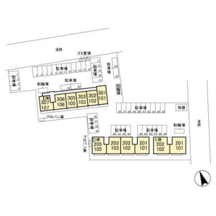 栃木県佐野市堀米町[2LDK/55.44m2]の配置図