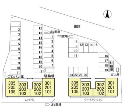 栃木県佐野市高萩町[1LDK/41.89m2]の配置図