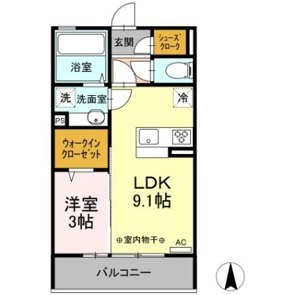 栃木県佐野市高萩町[1LDK/33.4m2]の間取図