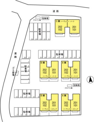 ハーヴェスト・スクエア AB[2DK/50.42m2]の配置図
