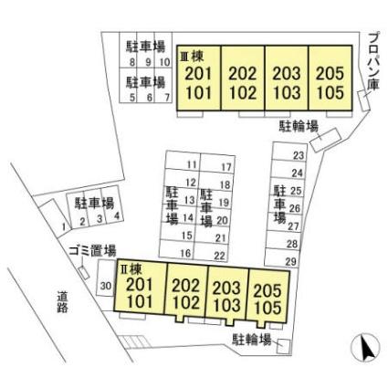 栃木県足利市五十部町[1LDK/47.58m2]の配置図
