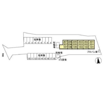 栃木県足利市五十部町[1LDK/33.39m2]の配置図