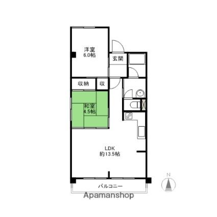 シティヒルズ朝倉[2LDK/54.5m2]の間取図