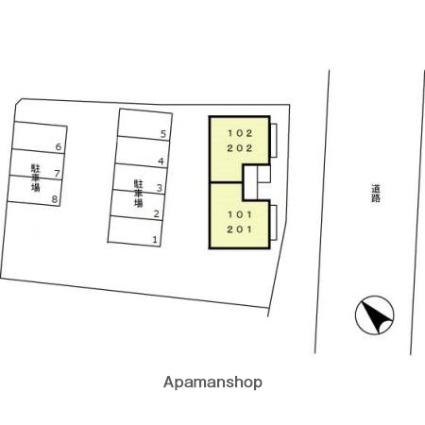 グリーンパーク木村Ⅲ[1LDK/42.11m2]の配置図