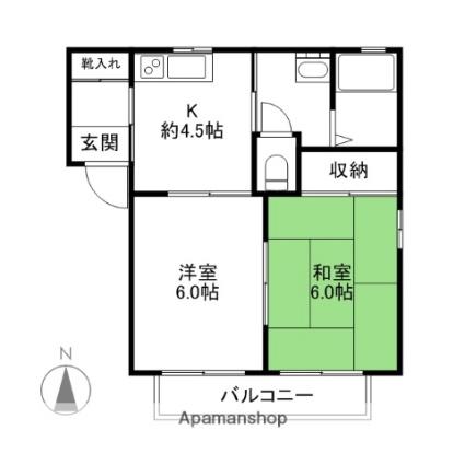 群馬県前橋市富士見町時沢[2DK/39.59m2]の間取図