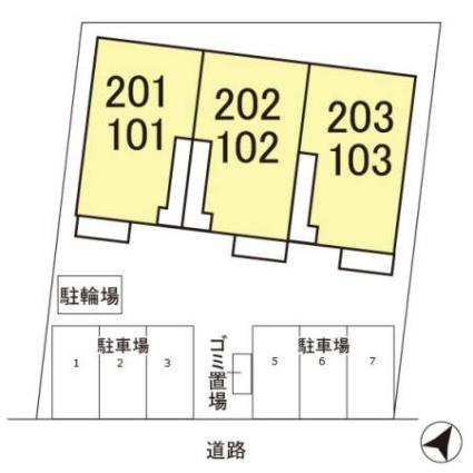 ディアコート[2DK/54.6m2]の配置図