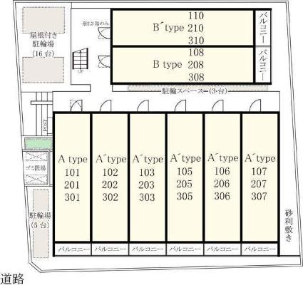 リブリ・日進[1K/26.08m2]の配置図