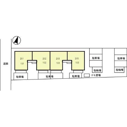 プリムヴェールデュオ[3DK/55.25m2]の配置図