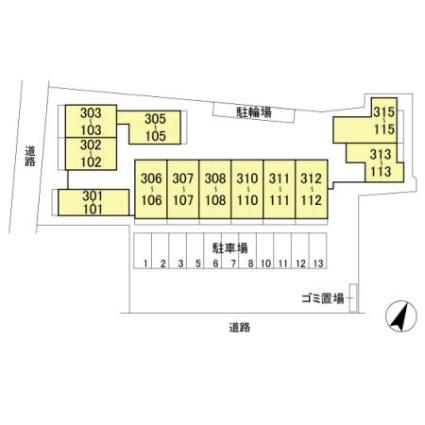 埼玉県さいたま市大宮区堀の内町3丁目[1LDK/37.37m2]の配置図