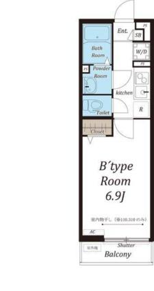 リブリ・大宮堀の内[1K/22.35m2]の間取図