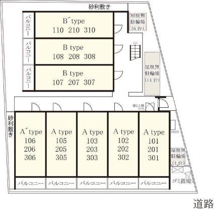 リブリ・大宮堀の内[1K/22.35m2]の配置図