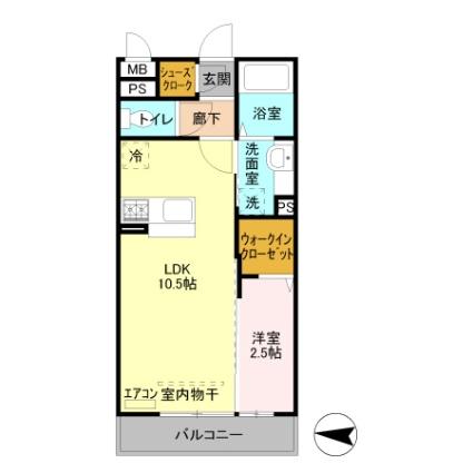 埼玉県越谷市レイクタウン5丁目[1LDK/33.78m2]の間取図