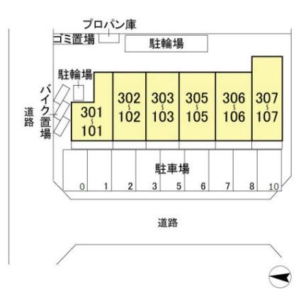 埼玉県越谷市レイクタウン5丁目[1LDK/33.78m2]の配置図