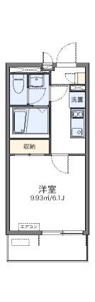 レオネクストルナ大宮[1K/21.33m2]の間取図