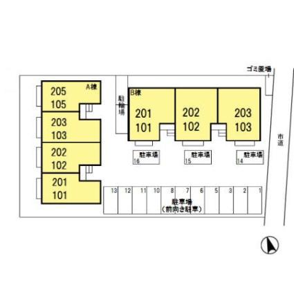 URBAN COURT B[3DK/65.46m2]の配置図