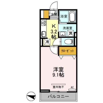 埼玉県さいたま市大宮区上小町[1K/30.03m2]の間取図
