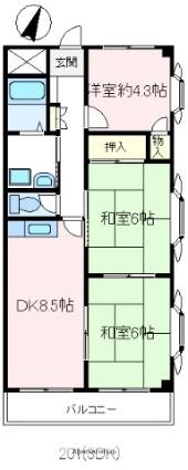 アマン富士見[3DK/54m2]の間取図