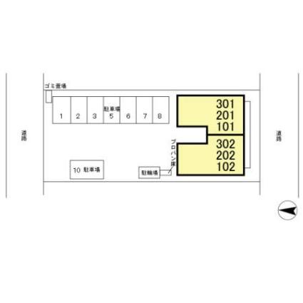 埼玉県吉川市美南5丁目[2LDK/53.75m2]の配置図