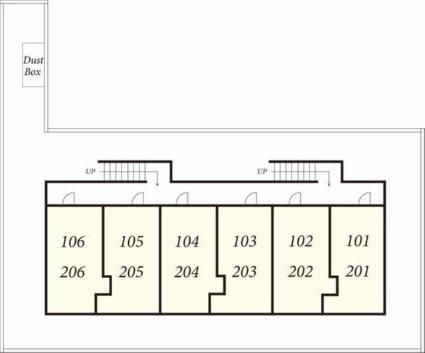 サンハウス[1K/28.31m2]の配置図