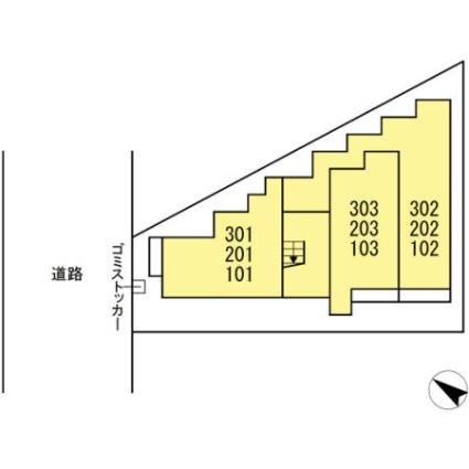 神奈川県川崎市川崎区池田1丁目[1K/25.96m2]の配置図