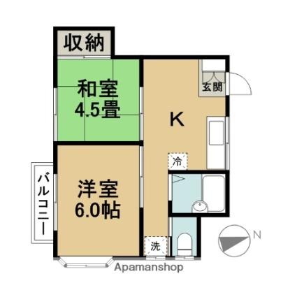 東京都江戸川区南葛西2丁目[2K/33.4m2]の間取図