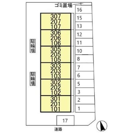 東京都江戸川区東葛西8丁目[3DK/56m2]の配置図