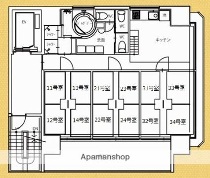 ドリームタワー恵比寿[1R/2.05m2]の間取図