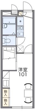 レオパレスFLEURIR[1K/22.35m2]の間取図