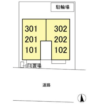 東京都調布市入間町1丁目[1LDK/44.21m2]の配置図