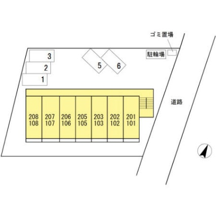 東京都武蔵村山市大南4丁目[1K/18.36m2]の配置図