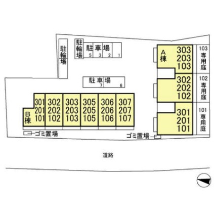 東京都練馬区高野台4丁目[1LDK/37.53m2]の配置図