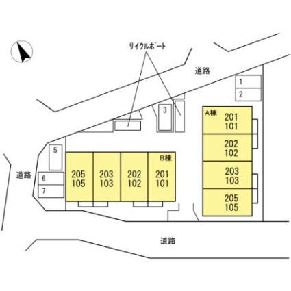 シャルマン高野台 A[2LDK/61.53m2]の配置図