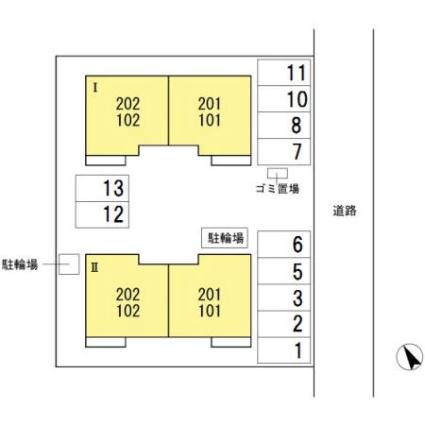 オヴェストグランデⅠ・Ⅱ Ⅱ[1LDK/45.95m2]の配置図