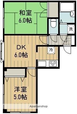 東京都羽村市富士見平2丁目[2DK/38.88m2]の間取図
