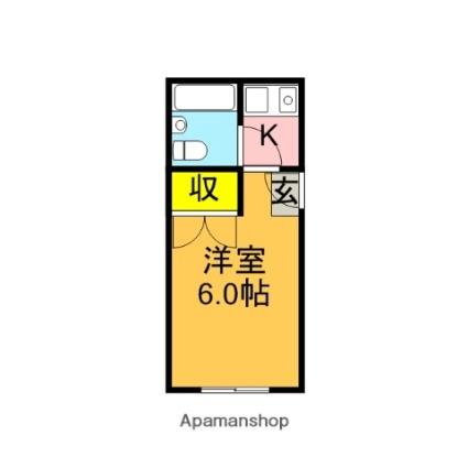 東京都杉並区松庵3丁目[1K/16m2]の間取図