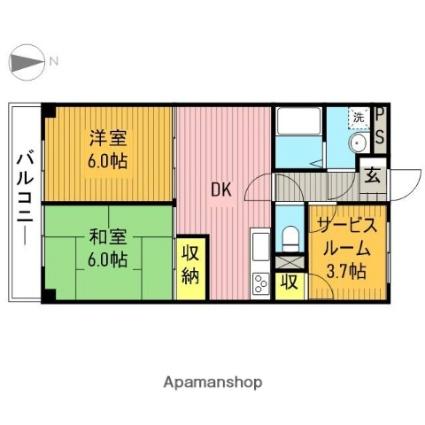 東京都江戸川区篠崎町1丁目[2SDK/52m2]の間取図